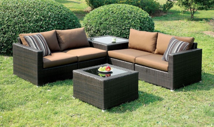 Alago Brown Patio Sectional Set