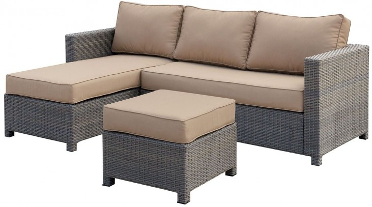 Sabina Tan and Dark Gray Patio Sectional with Ottoman