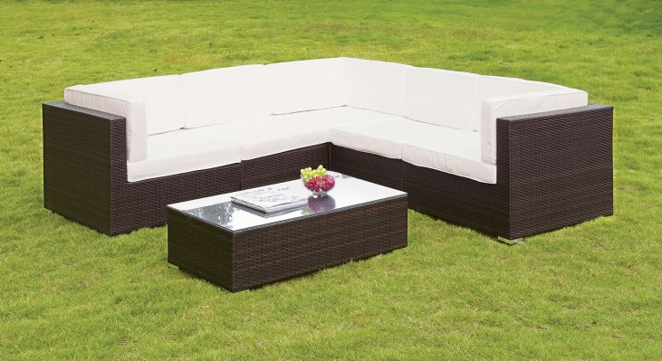Zendaya White and Espresso Sectional with White Coffee Table