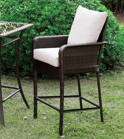 Tanishka Ivory and Espresso Counter Height Chair Set Of 2