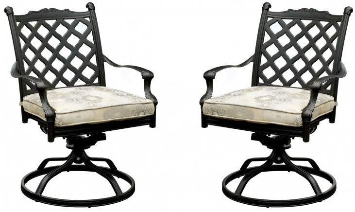 Chiara I Tan and Dark Gray Fabric Swivel Rocker Chair Set Of 2