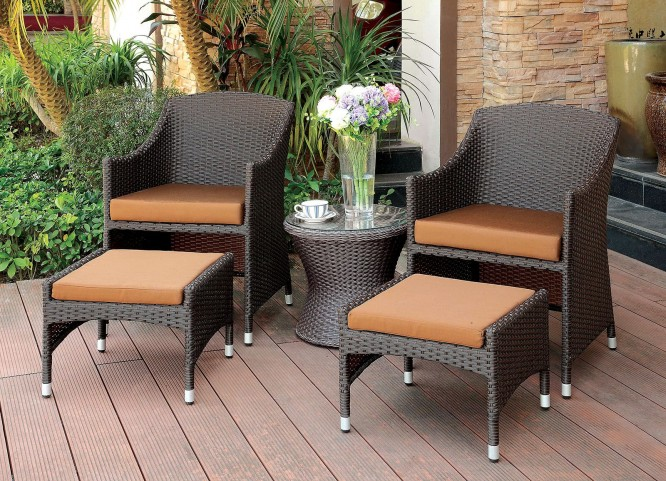 Almada Espresso Arm Chair With Ottoman