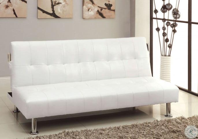 Bulle White Leatherette Futon Sofa