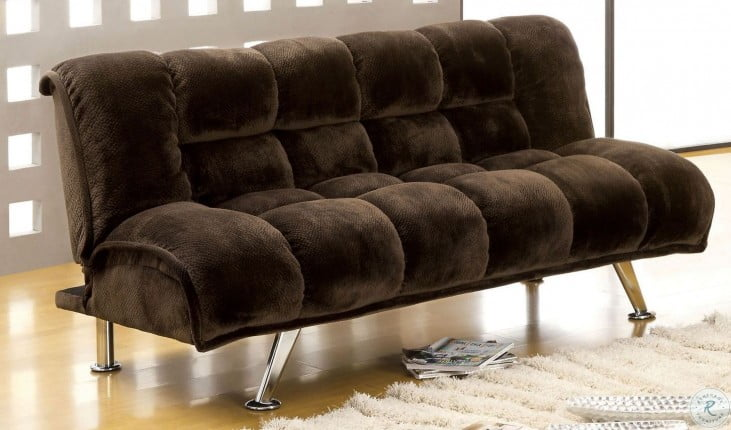 Marbelle Dark Brown Champion Fabric Futon Sofa