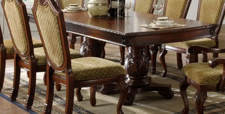 Napa Valley Dark Cherry Rectangular Double Pedestals Dining Table