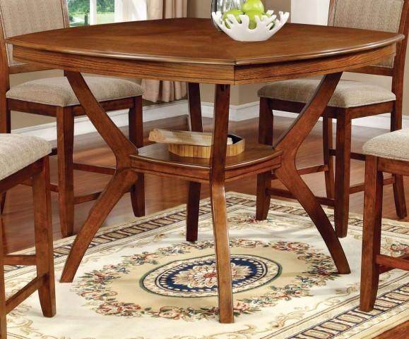 Redding II Oak Square Counter Height Pedestal Table