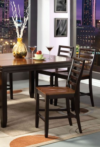 San Isabel II Acacia and Espresso Counter Height Chair Set of 2