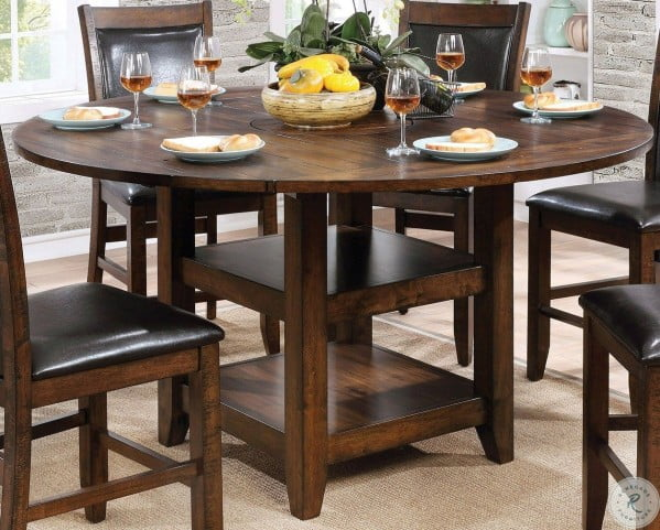 Meagan II Brown Cherry Round Counter Height Dining Table