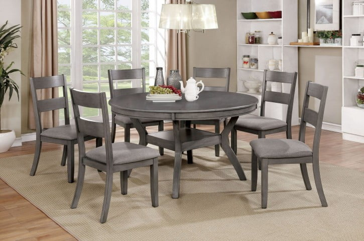 95fa52d7b9d2 Juniper Gray Round Dining Room Set from Furniture of America ...