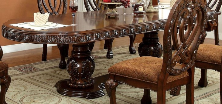 Wyndmere Cherry Oval Extendable Pedestal Dining Table