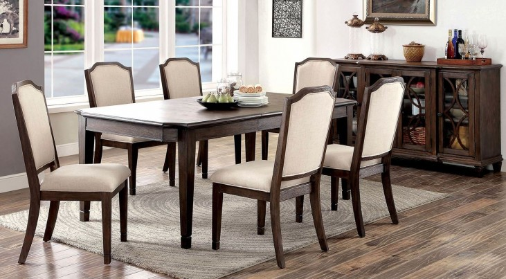 Haylee Wire Brushed Brown Extendable Rectangular Dining Room Set