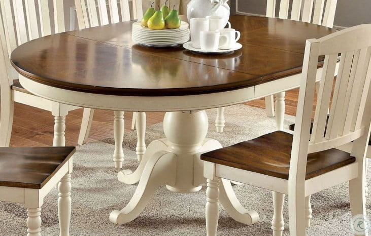 Harrisburg Vintage White And Dark Oak Oval Extendable Dining Table From Furniture Of America Cm3216ot Table Coleman Furniture