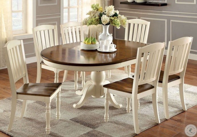 Harrisburg Vintage White And Dark Oak Oval Extendable Dining Room Set From Furniture Of America Cm3216ot Table Coleman Furniture