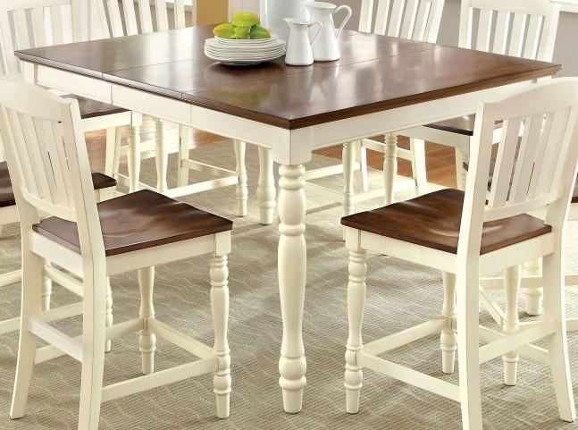 Harrisburg II Vintage White and Dark Oak Extendable Counter Height Leg Table