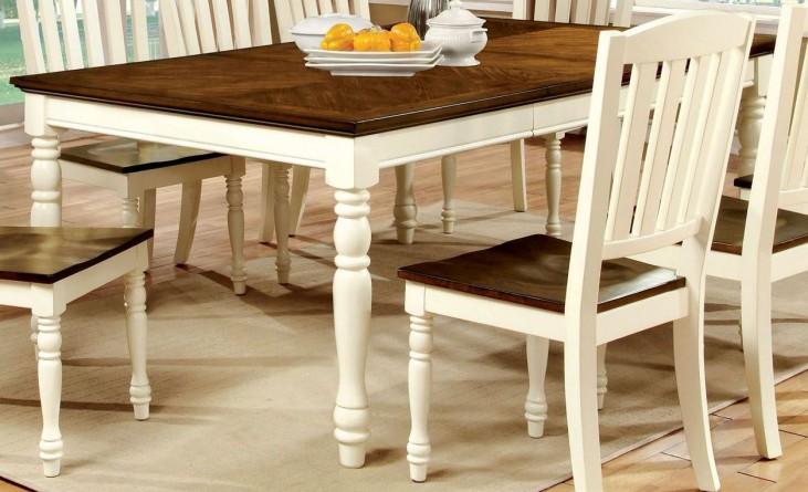 Harrisburg Vintage White and Dark Oak Rectangular Extendable Dining Table