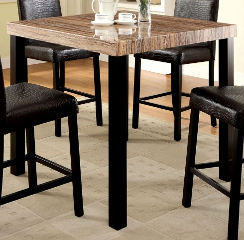 Rockham II Black Faux Marble Top Square Counter Height Leg Table