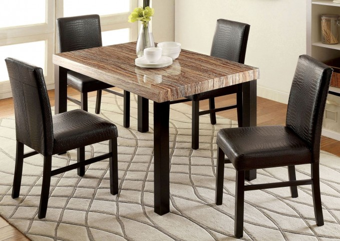 Rockham I Black Faux Marble Top Rectangular Leg Dining Room Set