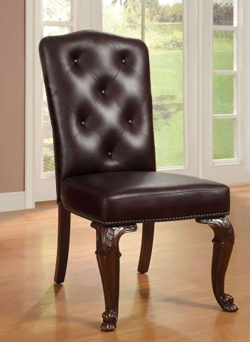 Bellagio Brown Cherry Leatherette Side Chair Set of 2