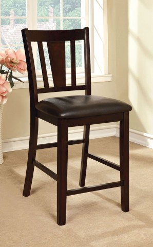 Bridgette II Espresso Leatherette Counter Height Chair Set of 2