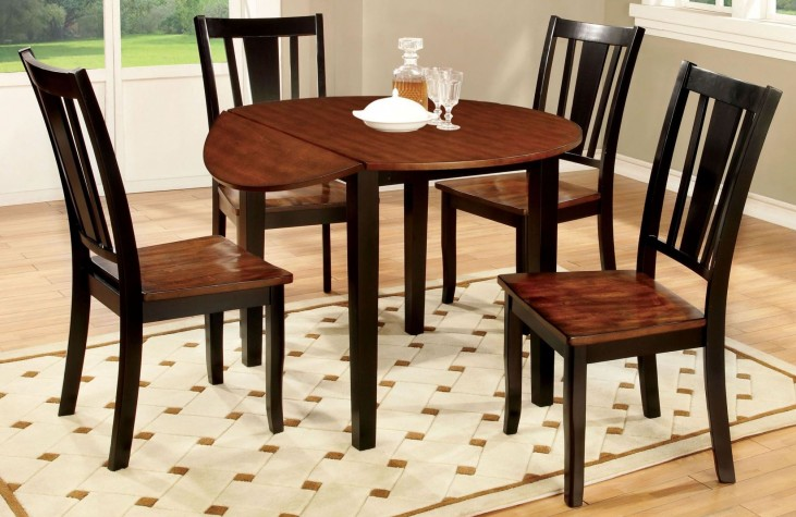 Dover II Black and Cherry Drop Leaf Round Dining Room Set
