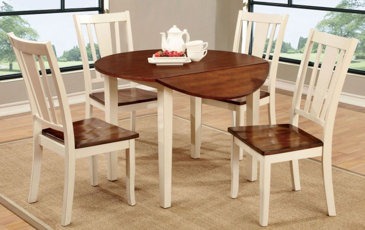 Dover II Vintage White and Cherry Drop Leaf Dining Room Set