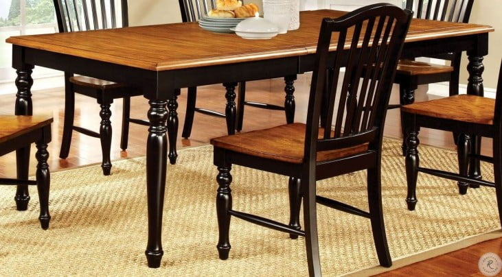 Mayville Black And Antique Oak Rectangular Extendable Leg Dining Table From Furniture Of America Cm3431t Coleman Furniture