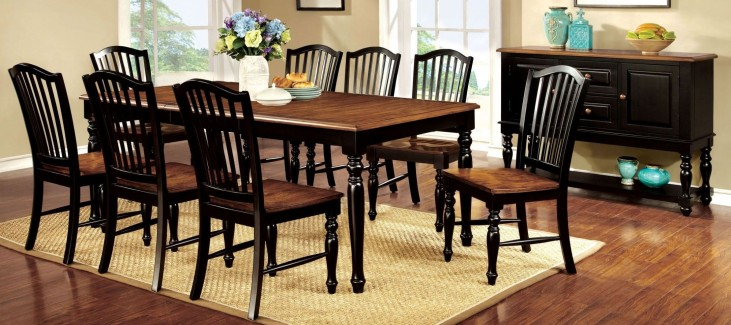 Mayville Black and Antique Oak Rectangular Extendable Leg Dining Room Set