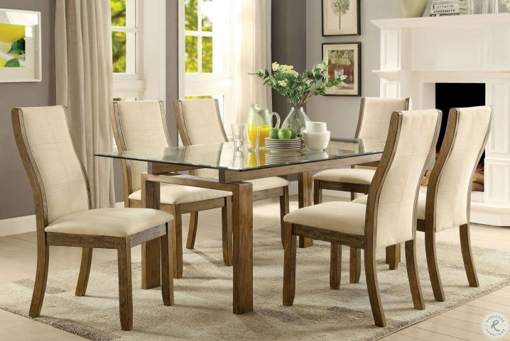Onway Oak Rectangular Glass Top Dining Room Set From Furniture Of America Coleman Furniture