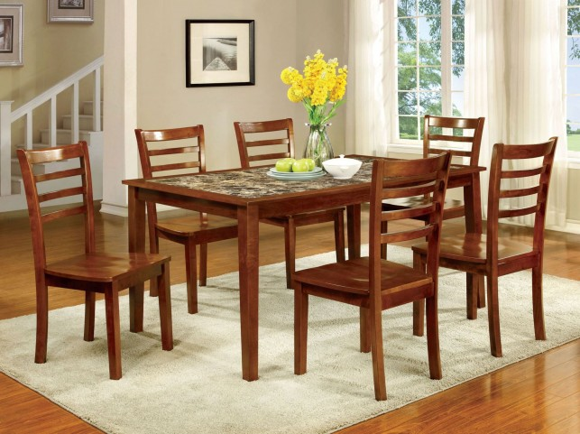 Fordville I Antique Oak 7 Piece Dining Table Set