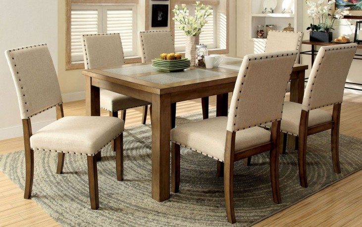 Melston I Stone Rectangular Leg Dining Room Set