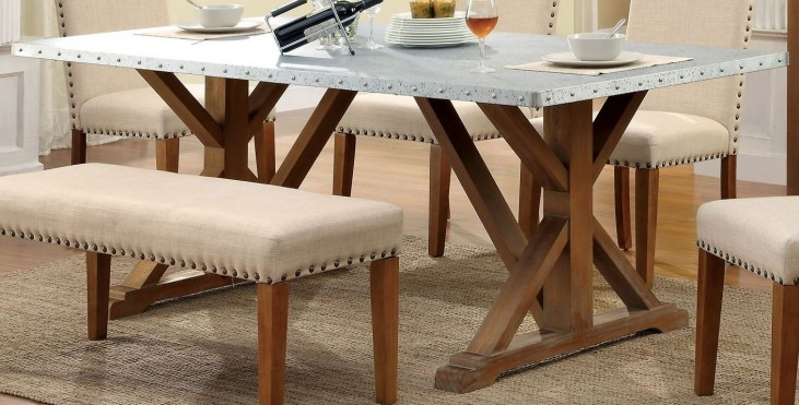 Armous I Galvanized Iron Rectangular Trestle Dining Table