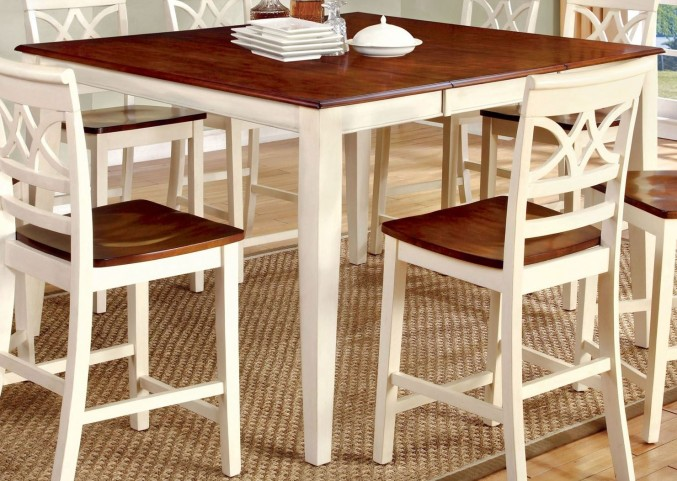 Torrington II White and Cherry Square Counter Height Leg Table
