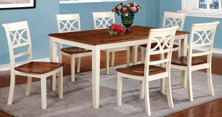 Torrington White and Cherry Rectangular Leg Extendable Dining Room Set