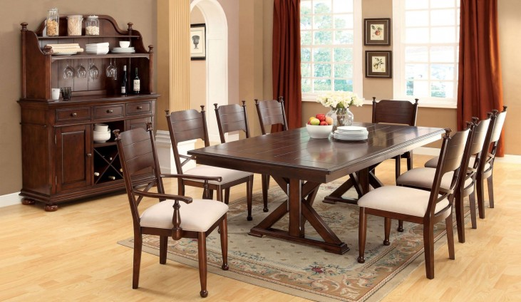 Descanso Brown Cherry Rectangular Extendable Trestle Dining Room Set