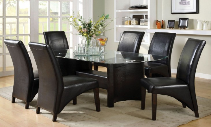 Madison Glass Top Rectangular Trestle Dining Room Set