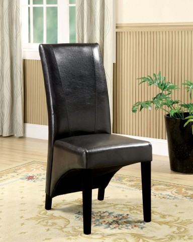 Madison Black Leatherette Side Chair Set of 2