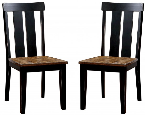 Alana Antique Oak and Black Side Chair Set Of 2