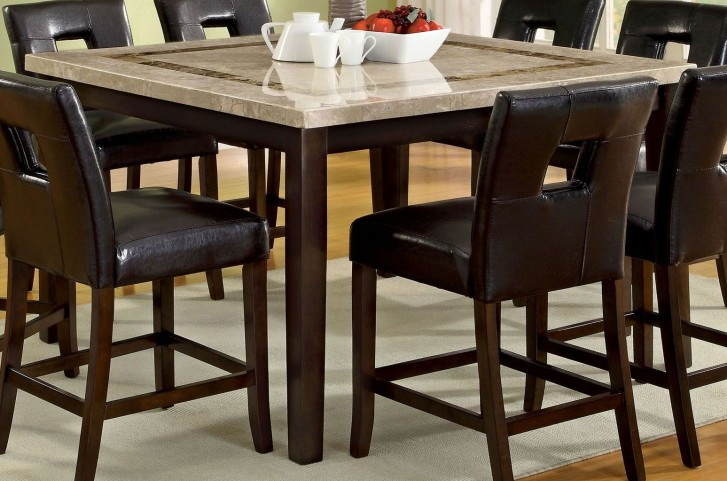 Lisbon II Marble Top Square Counter Height Leg Table