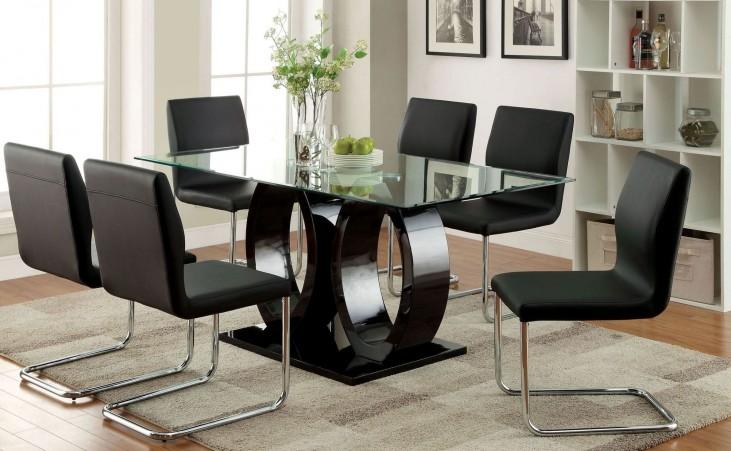 Lodia I Black Glass Top Rectangular Pedestal Dining Room Set