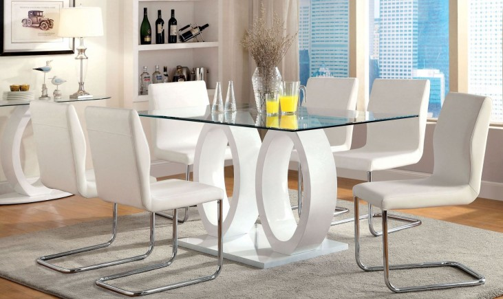 Lodia I White Glass Top Rectangular Pedestal Dining Room Set