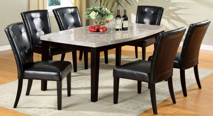 Marion I Marble Top Oval-Edge Dining Room Set
