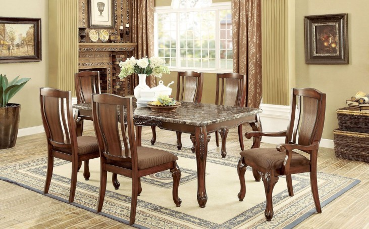 a6b95411255a Johannesburg I Brown Cherry Rectangular Leg Dining Room Set from Furniture  of America