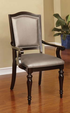 Harrington Pewter Leatherette Arm Chair Set of 2