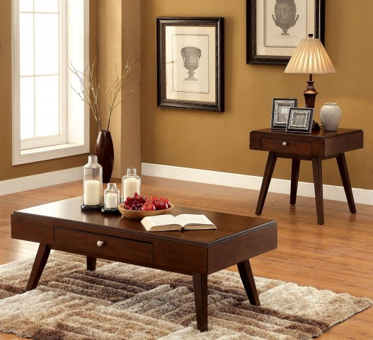 Kinley Brown Cherry Occasional Table Set