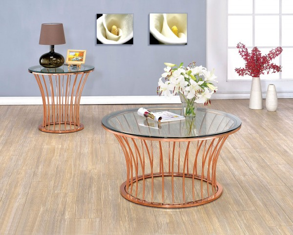 Celise Rose Gold Occasional Table Set