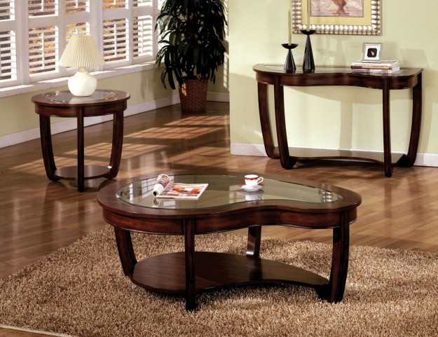 Crystal Falls Dark Cherry Occasional Table Set