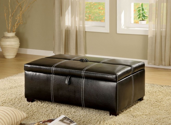 Appoline Black Leatherette Ottoman With Pull-Out Bed