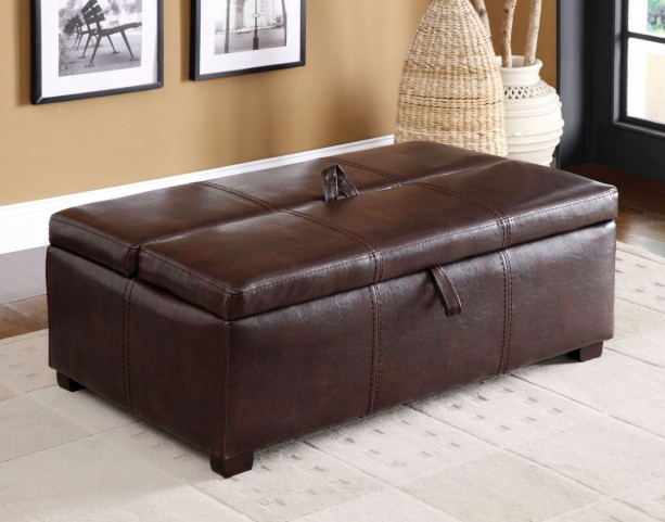 Appoline Brown Leatherette Ottoman With Pull-Out Bed
