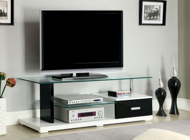 "Egaleo Black and White 55"" Glass Top TV Console"