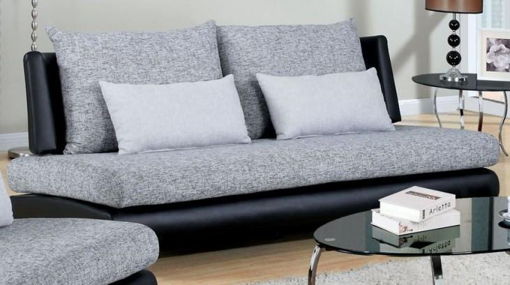 Saillon Fabric and Leatherette Sofa